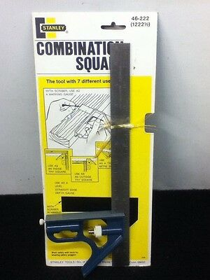 """Vintage Stanley Combination Square #46-222 """"Tool With 7 Uses"""" New Old Stock"""