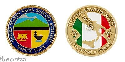 Naval Support Activity Naples Italy Flag 1 75 Navy Military Challenge Coin