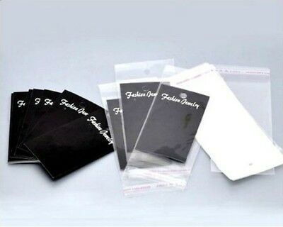 100 x Black Earring Display Cards With Bags 70mm x 50mm Jewellery Tools S149