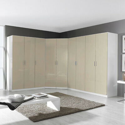 neu rauch eckkleiderschrank hochglanz grau wei schlafzimmer kleiderschrank eur. Black Bedroom Furniture Sets. Home Design Ideas