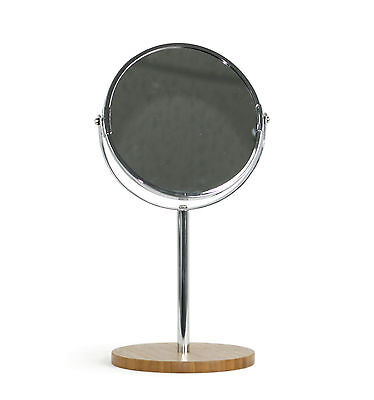NEW Double Sided Round Free Standing Magnifying Mirror Makeup Shaving Swivel
