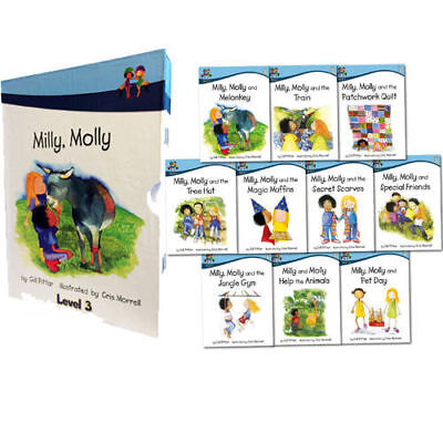 Milly Molly Level 3 Children 10 Books Collection Box Set School Read At Home