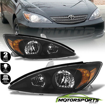 For 2002 - 2004 Toyota Camry  Sedan Factory Style Crystal Black Headlights Pair