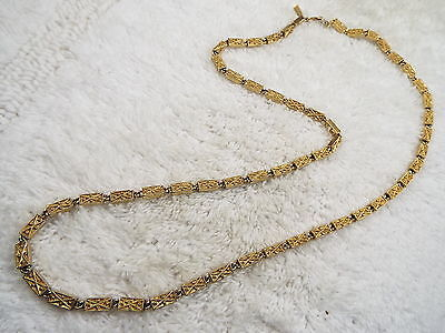MONET Goldtone Etched Fat Bar Link Chain Necklace (A45)