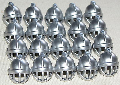 LEGO LOT OF 20 NEW METALLIC SILVER CASTLE KNIGHT HELMETS WITH FACE GRILLE PARTS