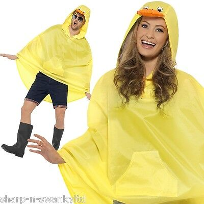 Ladies Mens Festival Essential Yellow Duck Waterproof Party Poncho Accessory