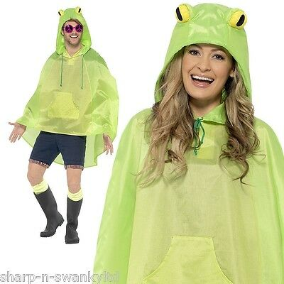 Ladies Mens Festival Essential Green Frog Toad Waterproof Party Poncho Accessory