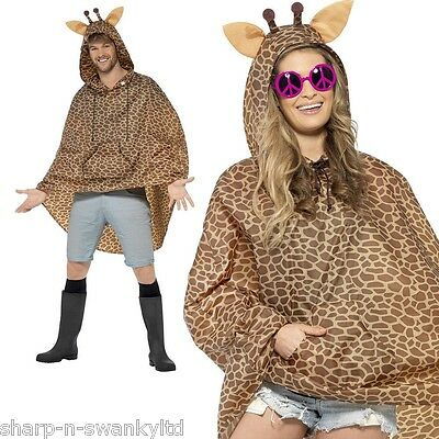 Ladies Mens Festival Essential Giraffe Print Waterproof Party Poncho Accessory