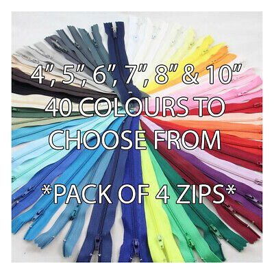 "4"" 5"" 6"" 7"" 8"" 10"" CLOSED END No3 NYLON ZIPS *6 SIZES 40 COLOURS* ZIPPER SEWING"