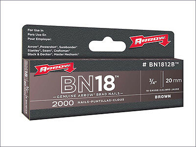 Arrow BN1812B Head Brad/ Nails 20mm Brown Pack 2000 ARRBN1812B