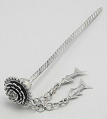 """STUNNING 19g Solid Sterling Silver Flower & Fish Hair Pin Accessory 4.7"""" Long"""