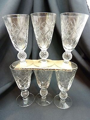 """6 Crystal Clear Etched Sherry Golf Ball Stems ~4-7/8"""" ~  MORGANTOWN #7643"""