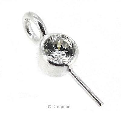 1x 925 Sterling Silver Eye Pin With Cz Crystal Pearl Pendant Connector Bail