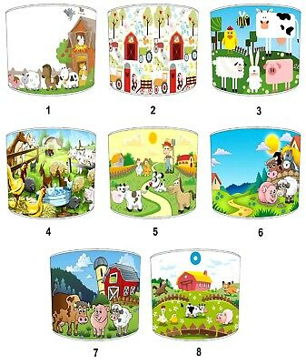 On The Farm Lampshades Ideal To Match Children`s Farmyard Animals Duvets Covers.