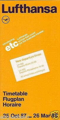 Airline Timetable - Lufthansa - 25/10/87 - North American focus