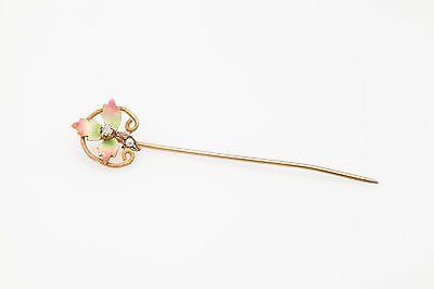 Antique Victorian CANADIAN MAPLE LEAF Enamel Pear Diamond 14k Gold Stick Pin