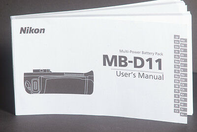 Nikon Multi Power Battery Pack MB-D11 For D7000 Instruction / Manual / Guide