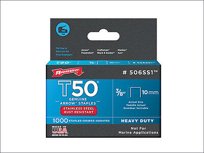 Arrow T50 Staples Stainless Steel 506SS 10mm (3/8in) 1000 ARRT5038SS Rustproof