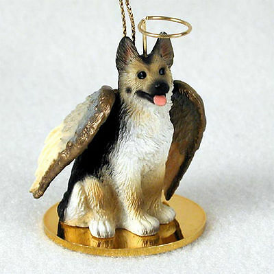 German Shepherd Ornament Angel Figurine Hand Painted Tan/Black