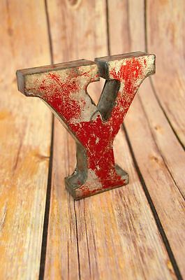 Fantastic Vintage Style Red 3D Metal Shop Sign Letter Y Advertising Font