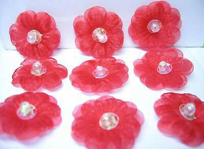 """1"""" Organza Sequin Beaded Flower Appliques/Trim x 60 Red"""