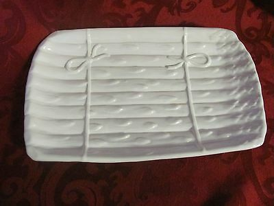 White Asparagus serving plate Made in Portugal 909 BF pottery