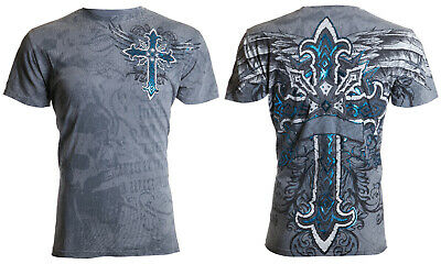 ARCHAIC by AFFLICTION Mens T-Shirt RED FLAG Cross Wings GREY Tattoo Biker $40