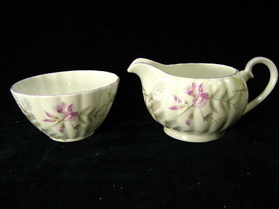 "Tuscan Bone China England Open Sugar & Creamer ""Wisteria"" Pattern"