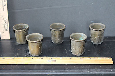 5 ANTIQUE BRASS CANDLE CUPS 6939