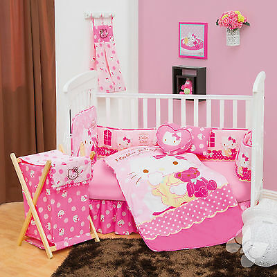 NEW  HELLO KITTY CANDY PINK BABY CRIB BEDDING NURSERY SET 7 PC