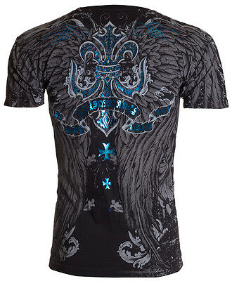 XTREME COUTURE by AFFLICTION Mens T-Shirt SANDSTONE Wings Tattoo Biker MMA $40