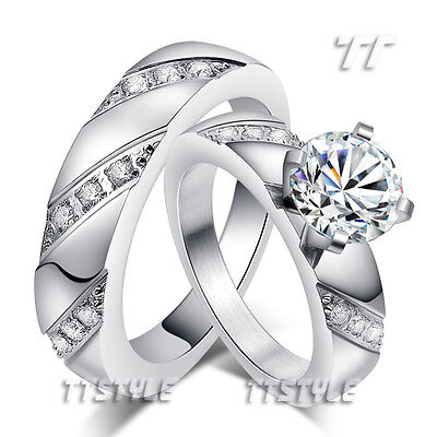 TT Silver S.Steel Multi-CZ Stripe Engagement Wedding Band Ring For Couple