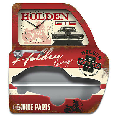 Holden GTS Metal Sign Wall mountable Shelf with LED and Clock Man Cave Bar Gift