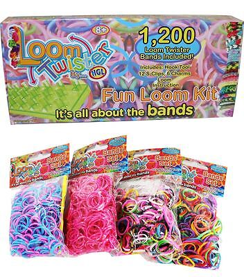 2000 Loom Twister Rubber Bands Rainbow Bracelet Making Starter Kit With S-Clips