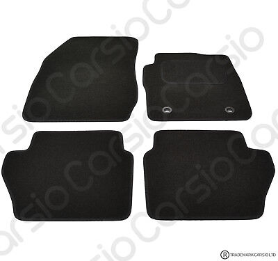 Ford Fiesta 2009   MK7 Tailored Black Car Floor Mats Carpets 4pc With Oval Clips