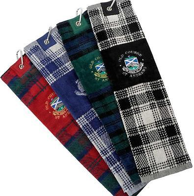 "New - Old Course St. Andrews Tartan Velour Tri-Fold Golf Towel 21.5"" x 6"""
