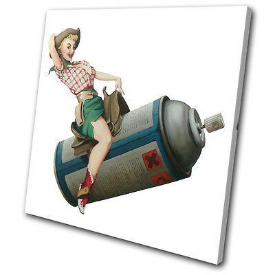 Banksy Painting Cowgirl SINGLE CANVAS WALL ART Picture Print VA