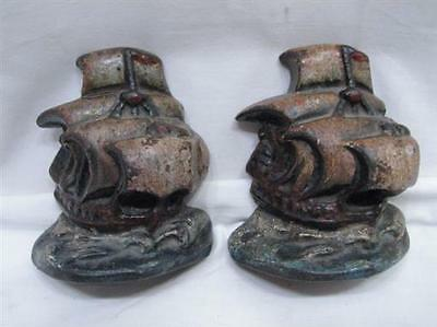 Vintage Painted Cast Iron Nautical Sailing Ship Bookends/Galleon/Tall Ship/Boat
