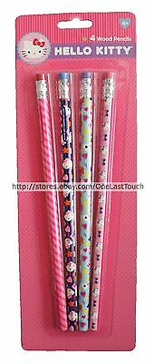 HELLO KITTY By SANRIO 4pc Set WOOD PENCILS Bows+Stars+Rainbow+Hearts+Pink NEW!