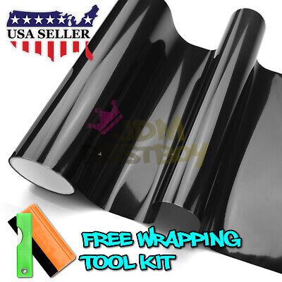 "*12""x72"" Gloss Dark Black Smoke Headlight Taillight Fog Light Tint Film Vinyl"