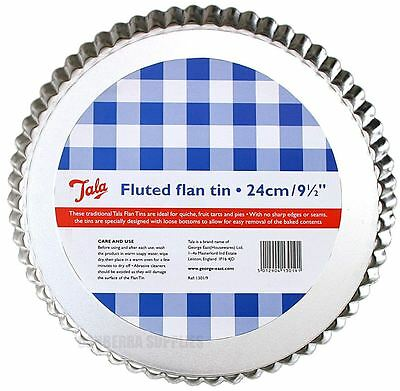 """Tala 24Cm / 9.5"""" Loose Bottom Fluted Flan Pie Cooking Quiche Baking Tin"""