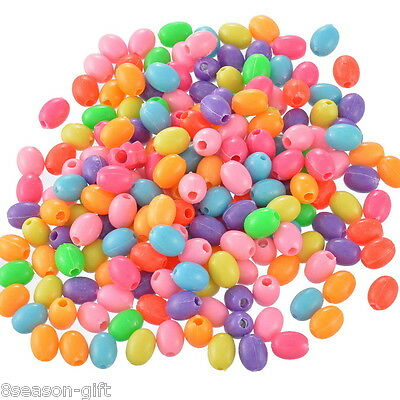 """200PCs Mixed Acrylic Egg Spacer Beads 11x8mm(3/8""""x3/8"""")"""