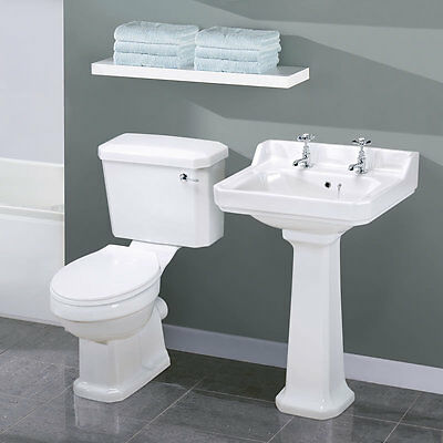 Traditional Bathroom Cloakroom Basin Sink and Toilet WC With Cistern and Seat