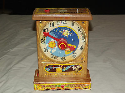 VINTAGE TOY 1964  FISHER PRICE MUSIC BOX TICK TOCK WIND UP CLOCK