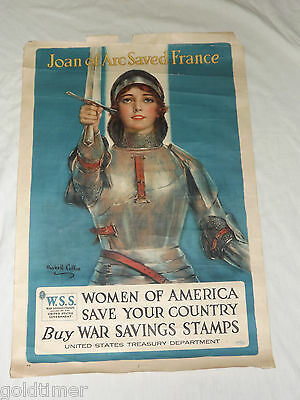 Vintage Wwi Joan Of Arc Saved France Haskell Coffin Poster