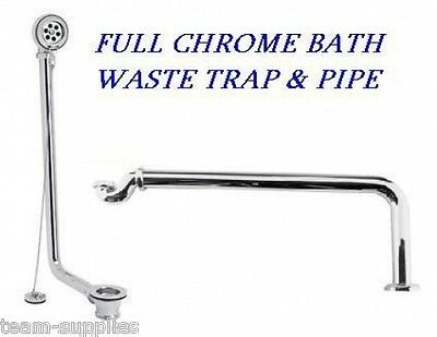Chrome Shallow Seal Low Bath Trap Waste Pipe And Exposed Freestanding Bath Wa