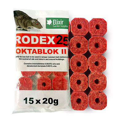 60 x 20G CUBES RODEX25 OKTABLOK II RAT/MOUSE BAIT POISON KILLER