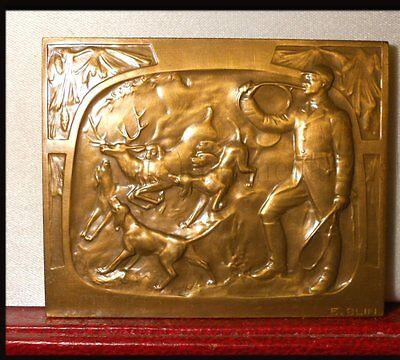 Médaille Bronze Plaque Chasse Cerf Deer Hunting