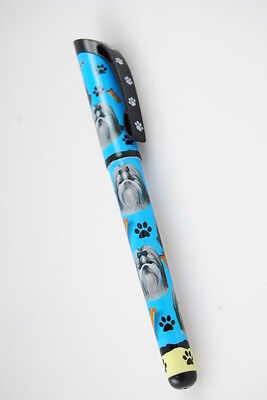 Shih Tzu Dog Gel Replaceable Writing Pen Ballpoint Black Ink Black White