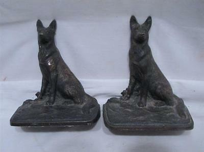Pair Vintage German Shepherd Police Dog Cast Iron Bookends/Brass Wash